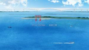 弁天島から今切れ口を望む描写です。奥に見えるのは浜名大橋です。