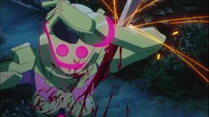 SPが輝島ナイトに腕を刺されるシーン