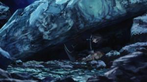 岩の下敷きになる丹童子アルマと藍羽ルリとフェイ