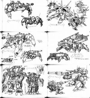 誰かこのコンセプトアートが何なのか分かる?スタジオぬえ、1995年というは読めたんだけど、二つのデザインはマクロスによく合っていると思う。
